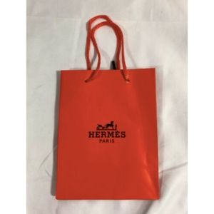 Authentic Hermes Paris Paper Shopping Bag Orange